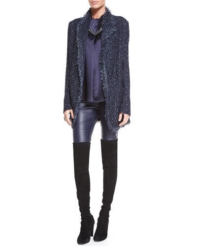 Glazed Luxe Tweed Knit Soft Jacket W/ Knit Fringe Trim, Liquid Satin Wrapped Shell Top, Stretch Napa Leather Cropped Leggings & Jewelry