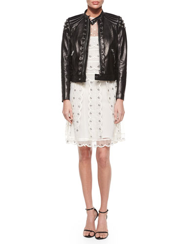 Grommet Pieced Leather Jacket & Sleeveless Organza Tulle Grommet Dress