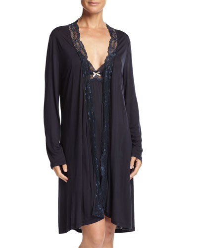 Everly Lace-Trim Short Robe & Chemise, Infinity Blue
