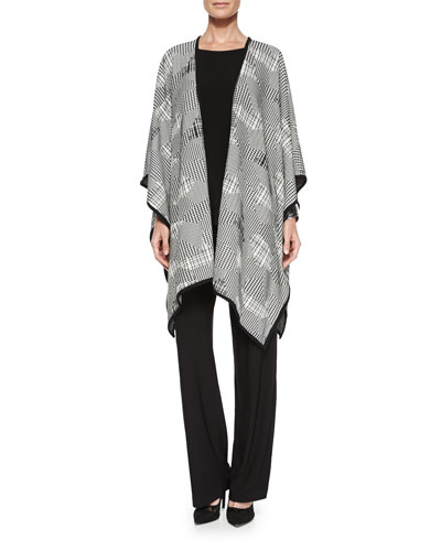Pattern Play Jacquard Wrap, 3/4-Sleeve Stretch-Knit Top & Stretch-Knit Straight-Leg Pants, Petite