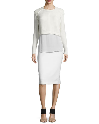 Giada Cropped Sweater & Harla Midi Pencil Skirt