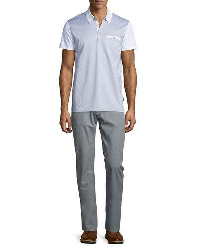 Ancona Colorblock Short-Sleeve Pique Polo & Rice Flat-Front Twill Trousers