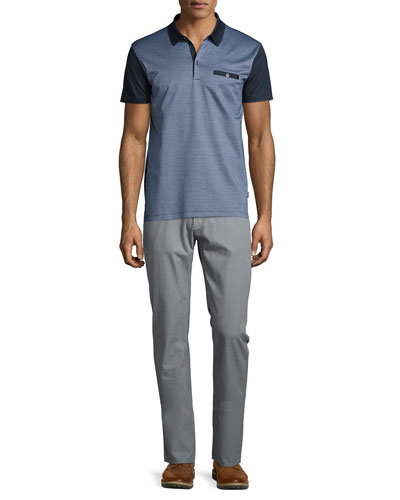 Ancona Colorblock Pique Polo Shirt & Flat-Front Trousers