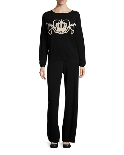 Crown Intarsia Wool-Cashmere Sweater & Wool-Cashmere Wide-Leg Pants, Women's