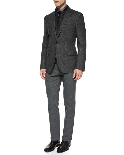 Herringbone Two-Button Jacket with Removable Gilet, Slim-Fit Micro-Check Dress Shirt, Knit Cotton Tie & Flat-Front Trousers