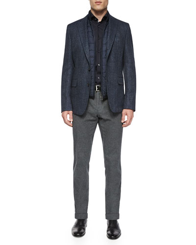 Melange Two-Button Jacket with Removable Vest, Slim-Fit Easy Iron Solid Dress Shirt with Contrast Trim & Flat-Front Trousers