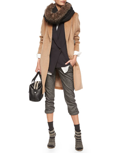 Wool Monili-Snap Long Coat, Asymmetric One-Button Vest, Long-Sleeve Silk-Hem Shirt, Ankle Pants with Monili Cuffs, Fur-Trimmed Boucle Scarf & Cashmere-Blend Mid-Calf Socks