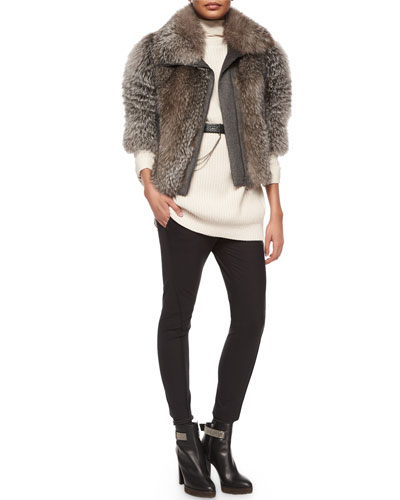 Fox Fur Coat, Silk-Back Cashmere Combo Sweater & Curved Seamed Riding Pants