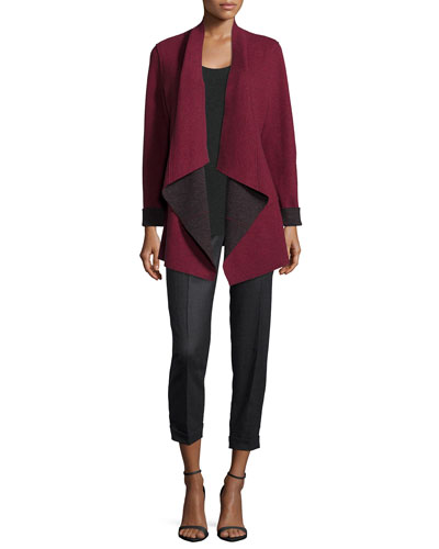 Merino Double-Knit Kimono Jacket, Long-Sleeve Jersey Cozy Tee & Twill Ankle Trousers