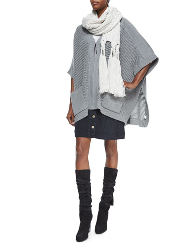 Zip-Front Wool-Cashmere Poncho & Columbier Button-Front Skirt