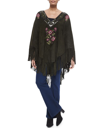 Embroidered Suede Fringe Poncho & Enchante High-Waist Flare Jeans