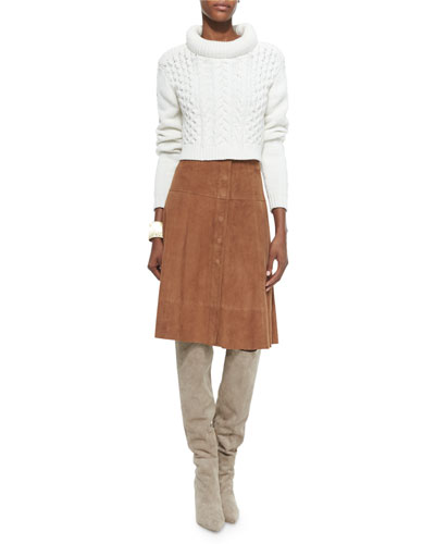 High-Low Loose Sweater & Mylon Suede Skirt