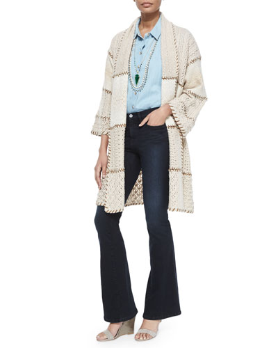 Dinaria Cashmere Jacket W/Contrast Stitching, Poets 3/4-Sleeve Shirt, Mock-Neck Slub Knit Top & Le High Flare Jeans