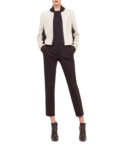 Two-Tone Zip-Front Blouson Jacket, Contrast Net-Sleeve Jersey Top & Jersey Tapered Ankle Pants