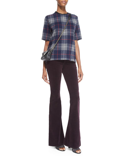Austin Plaid Short-Sleeve Top & Mid-Rise Bell-Bottom Jeans