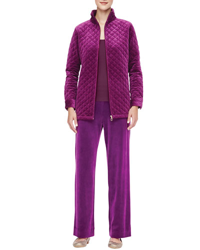 Classic Quilted Velour Jacket, Scoop-Neck Tank & Velour Pants, Women's