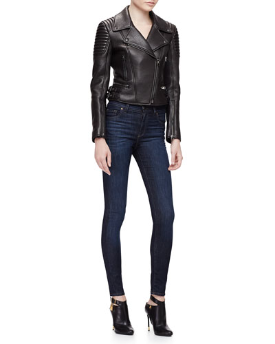 Pebbled-Leather Moto Jacket & High-Waist Skinny Jeans