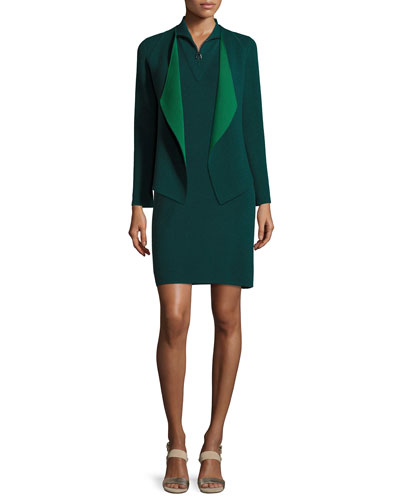 Sleeveless Knit Quarter-Zip Dress, Forest and Matching Items