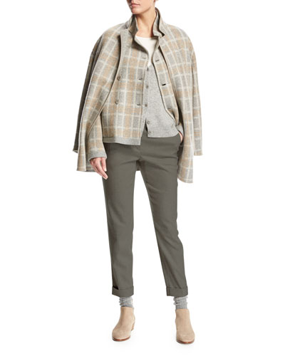 Jimi Reversible Plaid Flannel Mélange Jacket, Beige and Matching Items