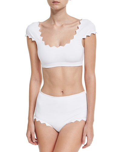 Mexico Zigzag Cap-Sleeve Swim Top, White and Matching Items