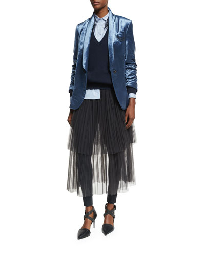 Velvet Shawl-Collar Blazer with Monili Chains, Blue and Matching Items
