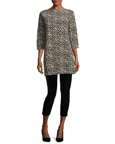 Leopard-Print Velour 3/4-Sleeve Tunic, Plus Size  and Matching Items