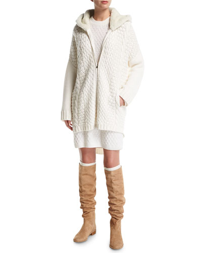 Anuuk Cable-Knit Zip Cardigan with Shearling Hood and Matching Items