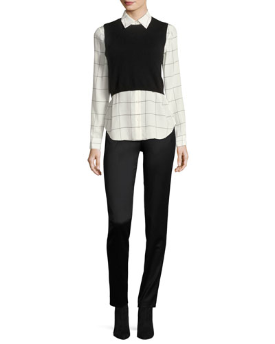 Lucinda Combo Cropped Sweater Vest w/ Shirt and Matching Items