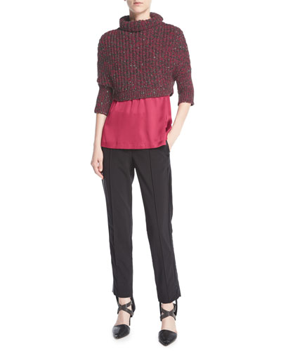 Stretch-Wool Stirrup Pants with Tuxedo Stripe, Black and Matching Items