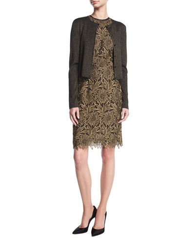Lurex Floral Lace Cocktail Sheath Dress and Matching Items