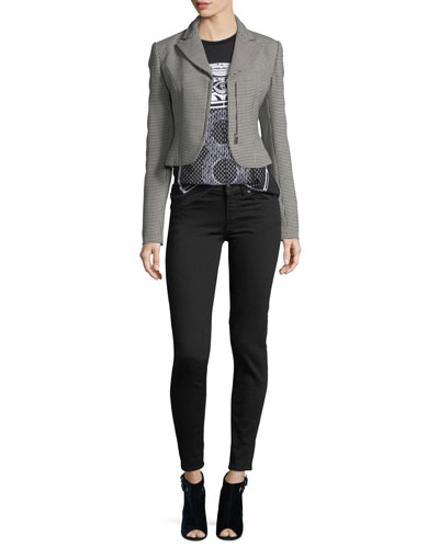 Fabiana Zip-Front Cropped Houndstooth Wool jacket and Matching Items