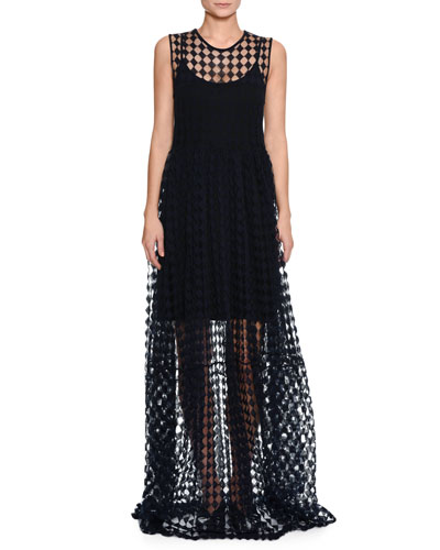 Round-Neck Sleeveless Trapeze Long Dress with Crochet Trim and Matching Items