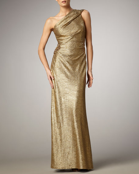 David Meister One-Shoulder Metallic Gown