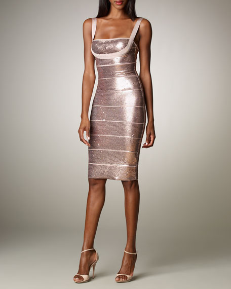 00b9a0b565e2 Herve Leger Sequined Bandage Dress