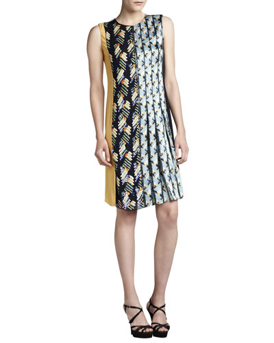 Embroidered Colorblock Satin Dress