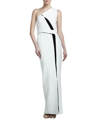 Colorblock Crepe One-Shoulder Gown