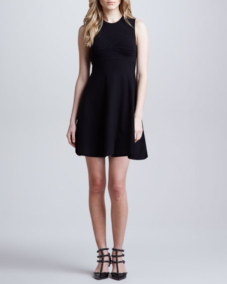 Red Valentino A Line Knit Dress With Open Bow Back Detail Black
