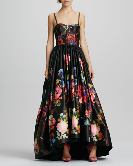 Alice Olivia Addie Floral Print High Low Gown