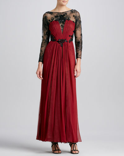 Long-Sleeve Lace & Chiffon Gown