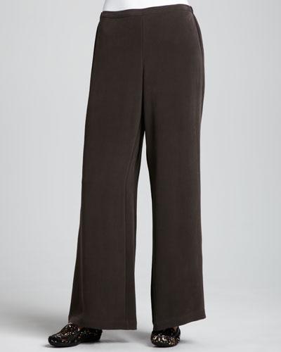 Full-Leg Silk Pants, Petite
