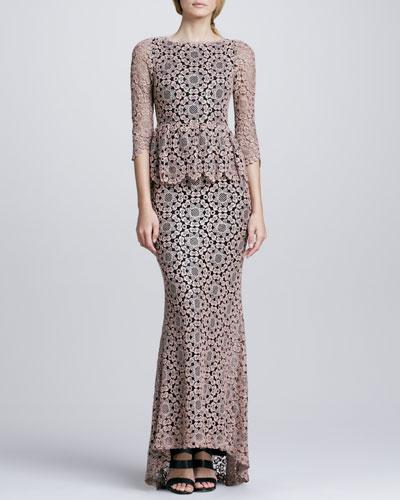 Regina Lace Peplum Gown