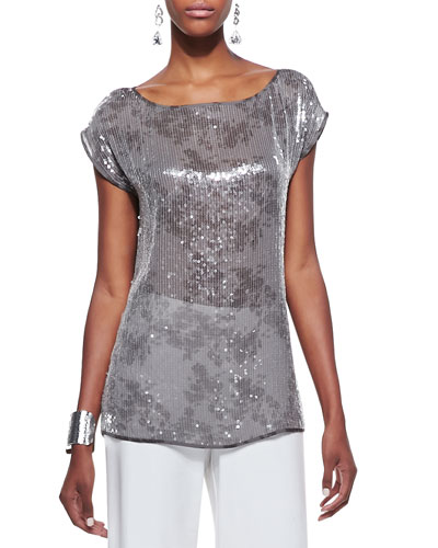 Clear Sequined Short-Sleeve Top, Petite