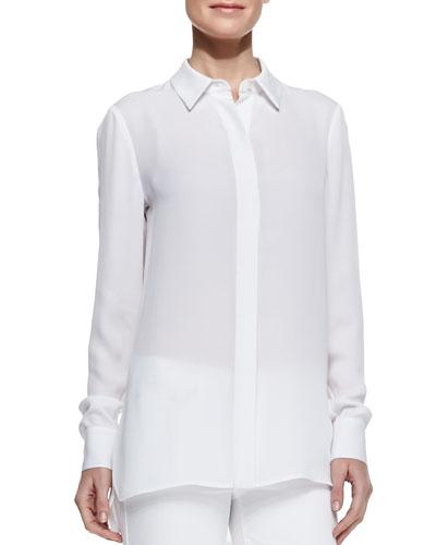 Georgette Button-Down Blouse, White