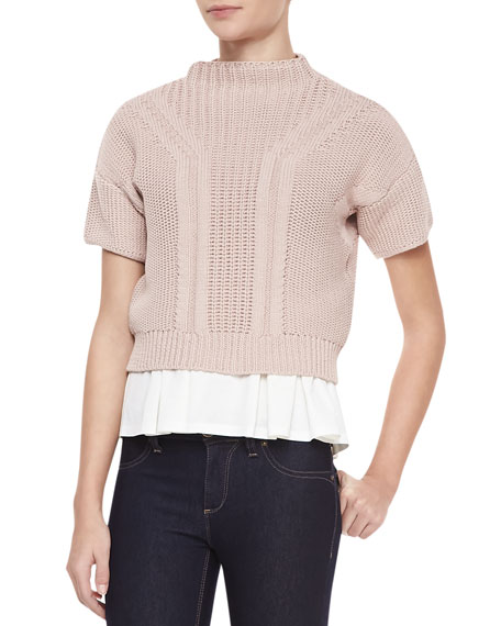 Rebecca Taylor Short Sleeve Mock Neck Cropped Sweater Bubble Pink