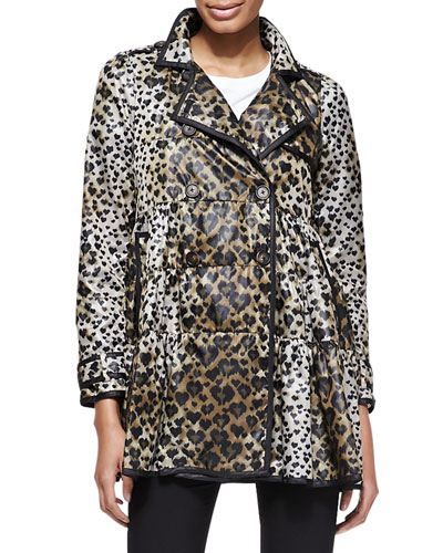 Skirted Heart-Leopard-Print Anorak Jacket