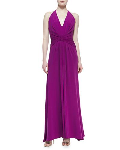 Halter Jersey Gown With Twist Detail