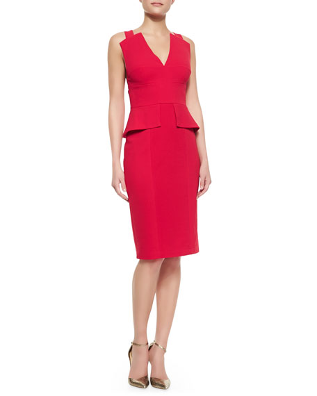 ea19a970d46040 BCBGMAXAZRIA Alena Peplum Sleeveless Sheath Dress