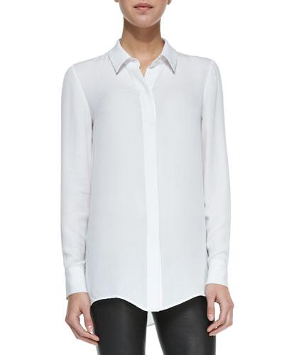 Classic Long-Sleeve Silk Blouse, White