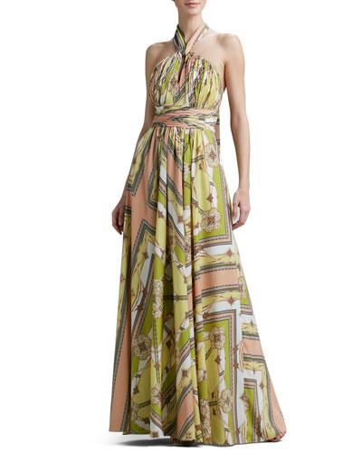 Handkerchief-Print Halter Gown