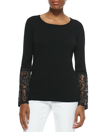 Cashmere Crochet-Sleeve Sweater